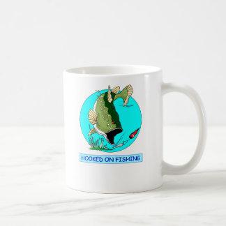 hooked on fishing coffee mug