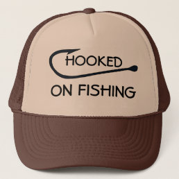 Hooked On Fishing Funny Typography Trucker Hat