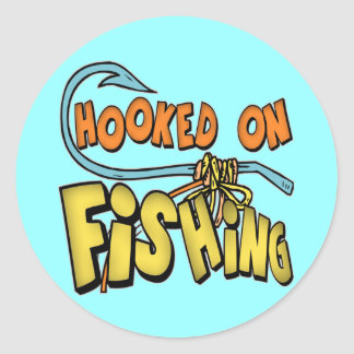 Hooked On Fishing T-shirts Gifts Classic Round Sticker