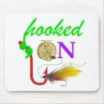 hooked on fly fishing mouse pad