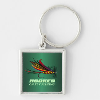 Hooked On Fly Fishing Silver-Colored Square Keychain