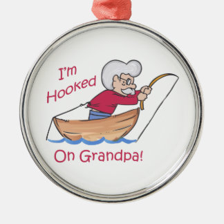 HOOKED ON GRANDPA ROUND METAL CHRISTMAS ORNAMENT