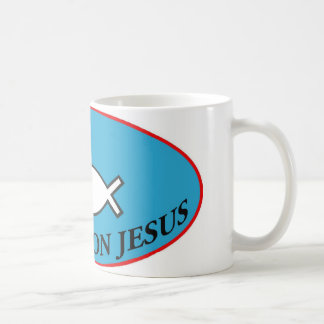 Hooked on Jesus Coffee Mug Large Label Style
