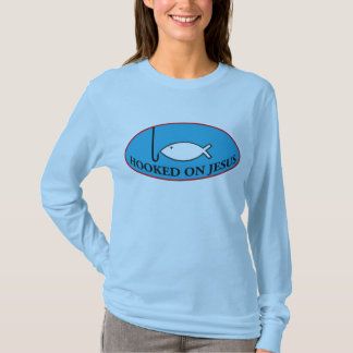 Hooked on Jesus Fitted Long Sleeved Ladies Tee