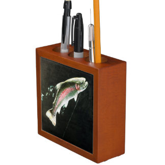 Hooked Rainbow Trout Fish Pencil/Pen Holder