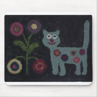 Hooked Rug Cat Mouse Pad
