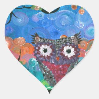 Hoolandia (c) 2013 - búho 01 de las expresiones pegatina en forma de corazón