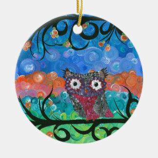 Hoolandia (c) 2013 - búho 02 de las expresiones adorno navideño redondo de cerámica