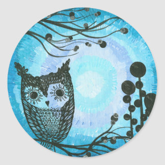 Hoolandia (c) 2013 – Contrast Owl 02 Classic Round Sticker