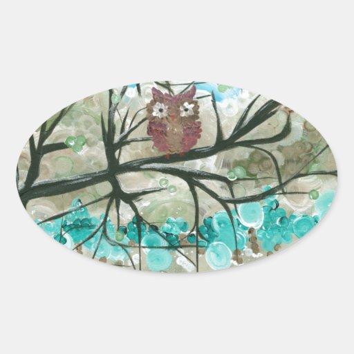"""Hoolandia (c) 2013 - el búho sazona - """"inviernos """" pegatina ovaladas personalizadas"""