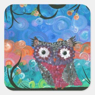 Hoolandia (c) 2013 – Expressions Owl 02 Square Sticker