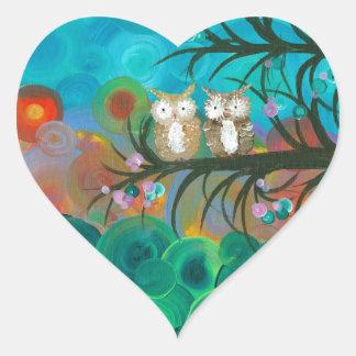Hoolandia (c) 2013 – Owl Couples Heart Sticker