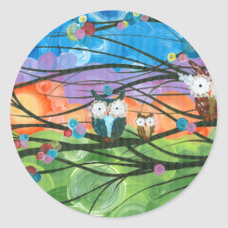 Hoolandia (c) 2013 – Owl Family Trees Classic Round Sticker