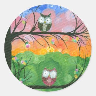 Hoolandia (c) 2013 – Owl Family Trees Round Stickers
