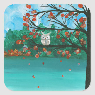 "Hoolandia (c) 2013 – Owl Seasons - ""Fall"" Square Sticker"