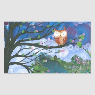 "Hoolandia (c) 2013 – Owl Seasons ""Spring"" Rectangular Sticker"