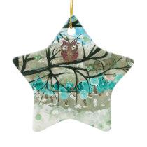 """Hoolandia (c) 2013 – Owl Seasons - """"Winter"""" Ceramic Ornament"""