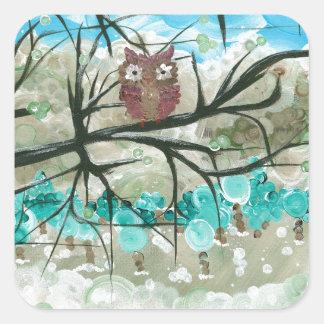 "Hoolandia (c) 2013 – Owl Seasons - ""Winter"" Square Sticker"