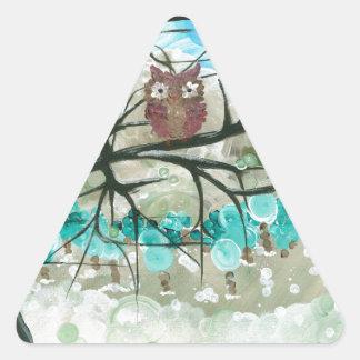 "Hoolandia (c) 2013 – Owl Seasons - ""Winter"" Triangle Sticker"