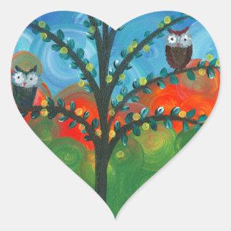 Hoolandia (c) 2013 - pares del búho pegatina en forma de corazón