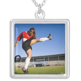 Hooligan kicking square pendant necklace