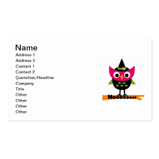 Hooooot Owl Halloween T-shirts and Gifts Double-Sided Standard Business Cards (Pack Of 100)