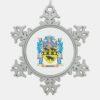 Hoope Coat of Arms - Family Crest Snowflake Pewter Christmas Ornament