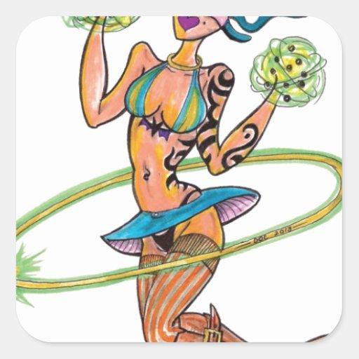 hoopgirl.jpg square sticker