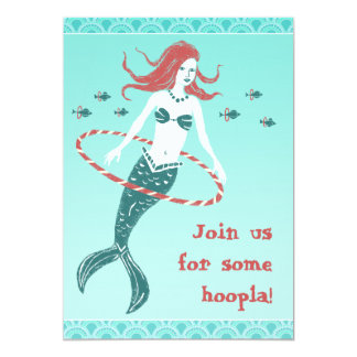 Hooping Mermaid Party Invitiation 5x7 Paper Invitation Card