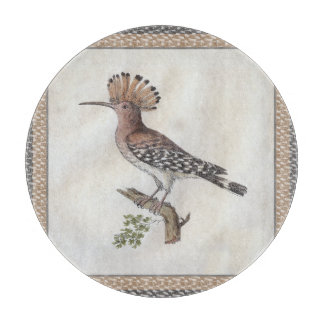 Hoopoe Antique Engraving Cutting Board