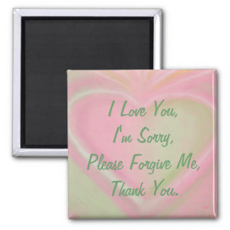 Ho'oponopono magnet-pinkheart 2 inch square magnet