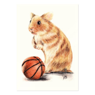 Hoops Anyone? Hamster Basketball ACEO Art Cards Large Business Card