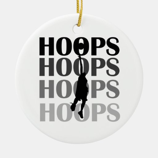 Hoops Silhouette T-shirts and Gifts Double-Sided Ceramic Round Christmas Ornament
