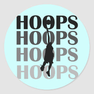 Hoops Silhouette Tshirts and Gifts Round Stickers