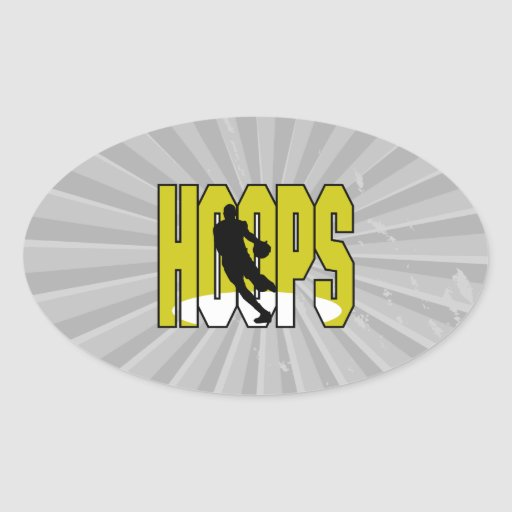 hoops text silhouette design oval sticker