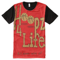 Hoopz 4 Life All-Over Printed Panel T-Shirt, S All-Over Print T-shirt