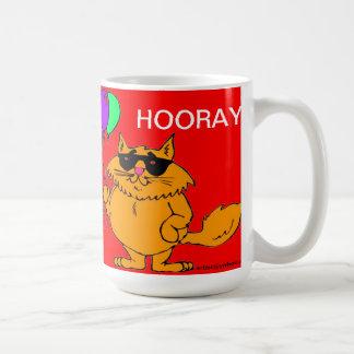 HOORAY CAT FELIZ CON LOS GLOBOS CUP/MUG TAZA DE CAFÉ