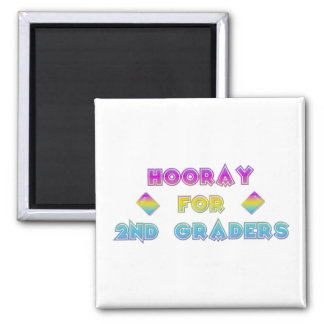 Hooray for 2nd Graders 2 Inch Square Magnet