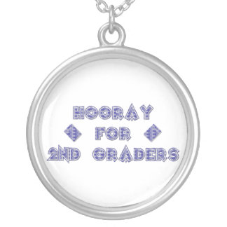 Hooray for 2nd Graders Silver Plated Necklace
