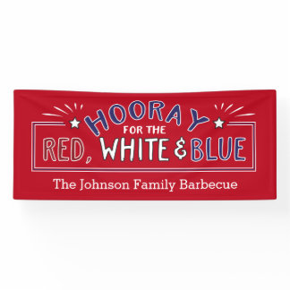 Hooray for July 4th Patriotic Barbecue Banner