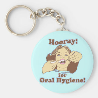 Hooray for Oral Hygiene Retro Basic Round Button Keychain