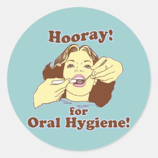 Hooray for Oral Hygiene Retro Round Stickers