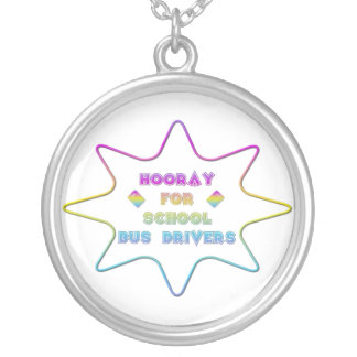 Hooray for School Bus Drivers! Silver Plated Necklace