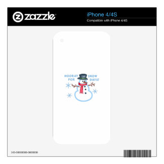 HOORAY FOR SNOW DAYS iPhone 4S DECAL