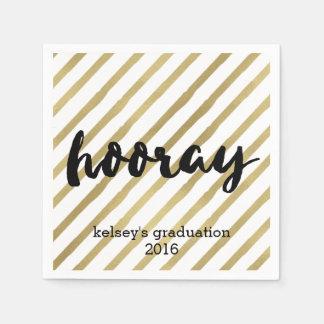 Hooray graduación negra y falsa del | del oro de servilletas desechables