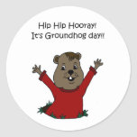 hooray its Groundhog day in white Classic Round Sticker