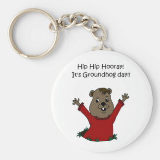 hooray its Groundhog day in white Key Chains