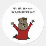 hooray its Groundhog day in white Classic Round Sticker