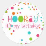 Hooray it's my Birthday Polka Dot Sticker