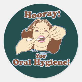 Hooray para la higiene oral pegatinas redondas